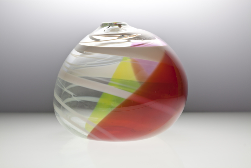 Willem Heesen, Large vase, transparent glass with colored layers in yellow and pink, 1989 - Willem Heesen