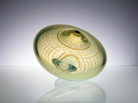 Willem Heesen, Uniek tolvormig dikwandig glasobject met filigraan, Oude Horn, 1987 - Willem Heesen