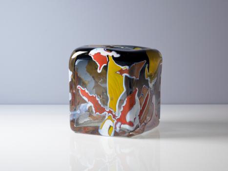 Willem Heesen, 'Kimono', unieke rechthoekige vaas, Oude Horn, 1990 - Willem Heesen