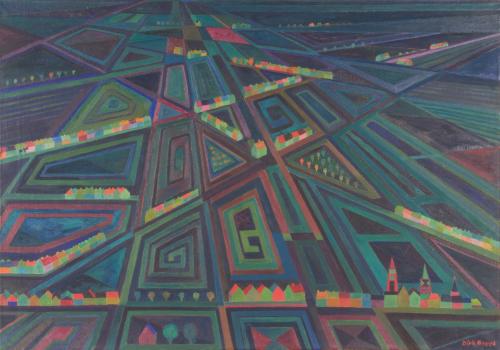 Dirk Breed, 'Panorama II', olieverf op doek, gesigneerd 'Dirk Breed' r.o., ca. 1966, 70 x 100 cm - Dirk Breed