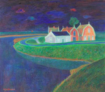 Dirk Breed, 'Huizen aan de Strook in Kolhorn', oil on canvas, signed 'Dirk Breed', 1990, 70 x 80 cm. - Dirk Breed