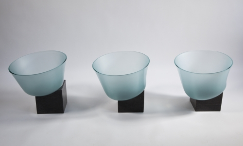 Bert Frijns, Installation with Three Glass Bowls, 1992 - Bert Frijns