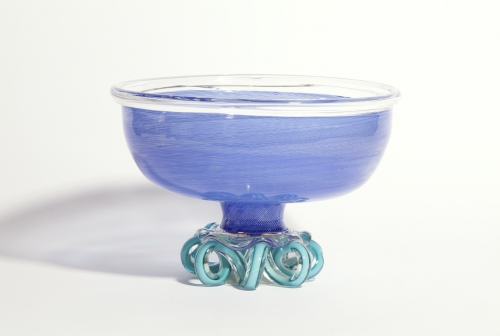 Andries Dirk (A.D.) Copier, One-off blue art glass bowl, executed by Lino Tagliapietra, 1981 - Andries Dirk (A.D.) Copier