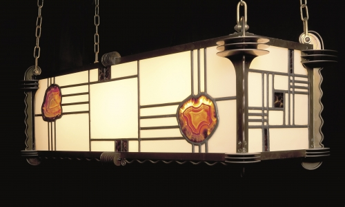 Amsterdam School Stained Glass Pendant Lamp with Gemstones, 1920s