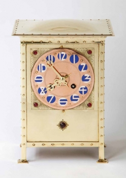 J.C. Stoffels, Rare Dutch Art Nouveau brass pendulum, with engraving, glass stones and colored enamel dials, Onder Den Sint Maarten, 1904 - Johannes Cornelis (J.C.) Stoffels