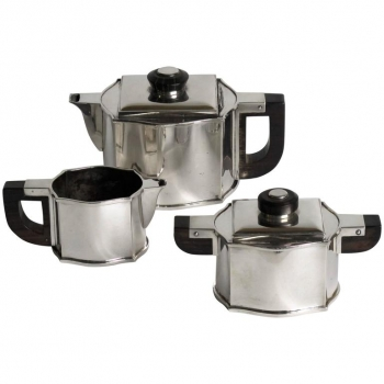 Fa. Wolfers Frères, driedelig Art Deco theeservies, Zilver 835, jaren '30 - Philippe Wolfers Frères