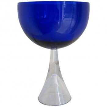Floris Meydam, Leerdam Serica, Blauwe glazen bokaal op holle voet, 1960 - Floris Meydam