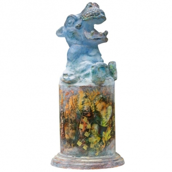 Antoon van Wijk, Modern glass sculpture of a laughing hippo, pâte de verre, 1990 - Antoon van Wijk