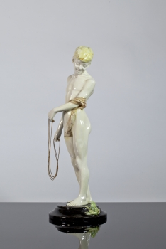 Toon Dupuis, Art Nouveau sculpture of a boy with skipping rope, design 1904-1907, execution Voorheen Amstelhoek, 1907-1910 - Toon Dupuis