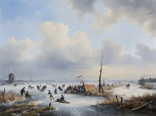 A winter landscape with figures skating near a koek-and-zopie - Lodewijk Johannes Kleijn