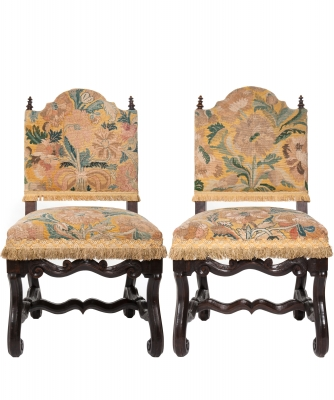 A Pair of Tapestry Upholstered Chestnut Louis XIV Chairs