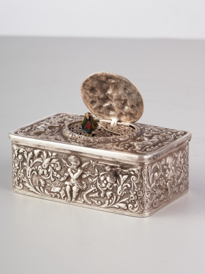 A Silver German Singing Bird Box, circa 1900