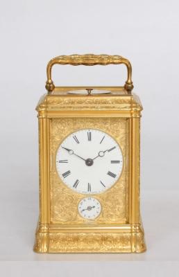 An English engraved gilt brass quarter striking carriage clock, Dent circa 1850