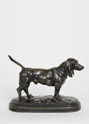 English Basset, bronze sculpture by Bayre, Barbedienne, circa 1880