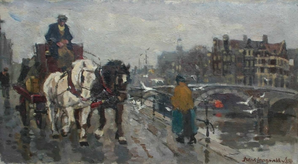 Horse and wagon near Amsterdam canals - Franciscus Arnoldus (Frans) Langeveld