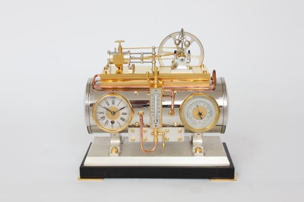 A French industrial mantel clock, boiler, Guilmet, circa 1880