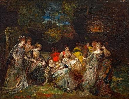 Elegant ladies in the park - Adolphe Joseph Thomas Monticelli
