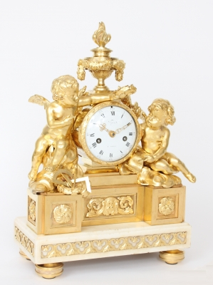 A French Louis XVI ormolu mantel clock designed by Osmond, Viger A Paris, circa 1770