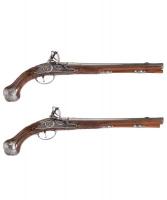 Pair Flintlock Pistols by 'Oger Leblan'