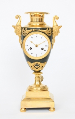 A fine French Empire ormolu and bronze urn mantel clock, circa 1800
