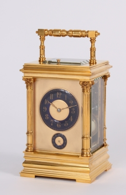 A French gilt brass carriage clock with rare blue enamel dials in Anglaise case, circa 1890