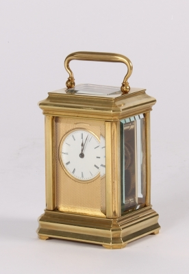 A lovely French miniature brass carriage timepiece, circa 1880