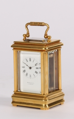 By Reed & Son retailed French miniature gilt brass timepiece circa 1880