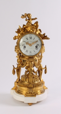 An attractive French Louis XVI ormolu sculptural mantel clock J B Balthazar, circa 1770