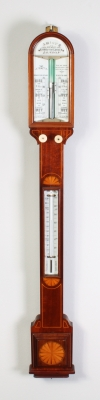 A good English mahogany marquetry inlaid stick barometer, J. Hicks London