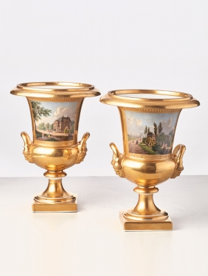 A fine pair of topographical porcelain vases with scenes of Haarlem, circa 1830
