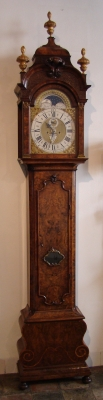 A fine Dutch burr walnut striking longcase clock J P Kroese Amsterdam circa 1730