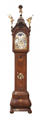 A fine Dutch burr walnut longcase clock with calendar Uswald Amsterdam circa 1750