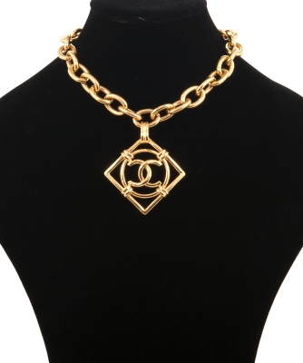 Vintage Chanel CC Square Link Necklace