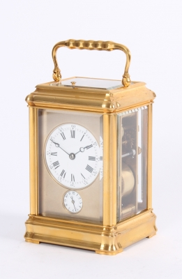 A good French gilt brass quarter repeating travel clock with gorge case, by Margaine, circa 1870