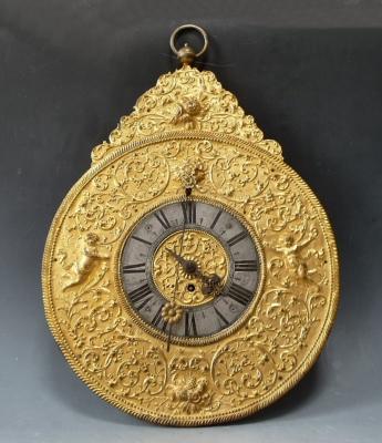 Baroque Telleruhr, South German wall clock, circa 1730.