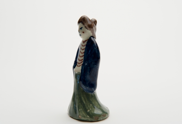 A Figure of an Oriental Lady in Polychrome Dutch Delftware