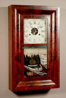 An American mahogany ogee shelf clock by Seth Thomas