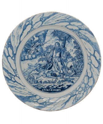 A Blue and White Dutch Delft Charger
