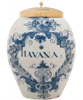 A Dutch Delft Blue and White Tobaccojar 'Havana' with Brass Cover