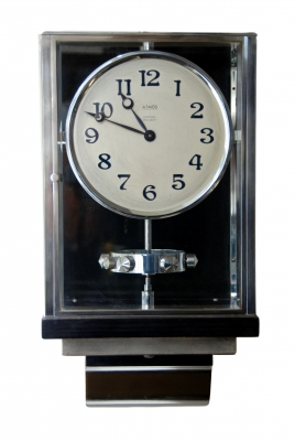 W45 Large Nickel Plated Art Deco J. L. Reutter Wall Hanging Three-Glass Atmos Clock.