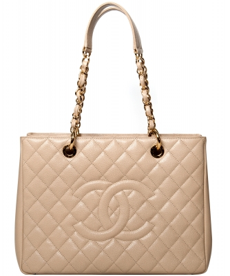 Chanel GST Shopper Tote in Beige Caviar Leder