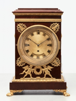 A charming Viennese mahogany and gilt mantel clock by J Straub, circa 1830