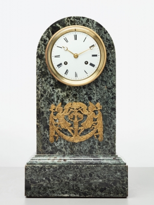 An elegant French green marble arched mantel clock, circa 1830