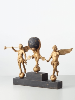 A set of Dutch wooden gilded long case clock figures, circa 1780