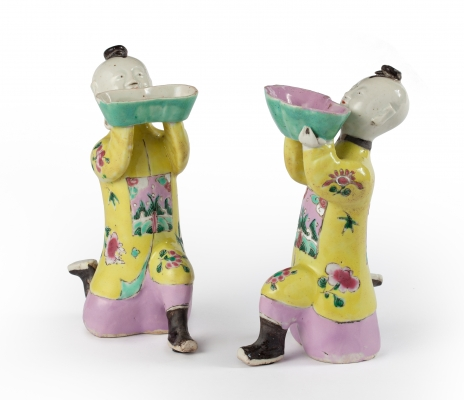 A Pair of Chinese incense burners in the shape of 'zotjes'