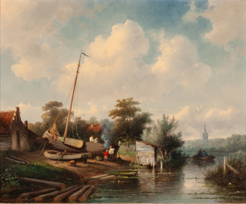 Riverlandscape with a shipyard