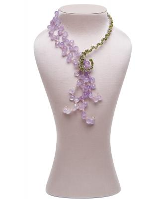 Siman Tu Amethyst Peridot Tassel Necklace