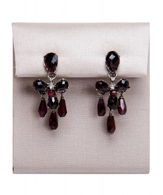 Siman Tu Garnet Drop Earrings - Siman Tu