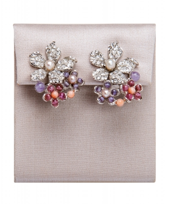 Siman Tu Amethyst Coral Garnet Earrings - Siman Tu