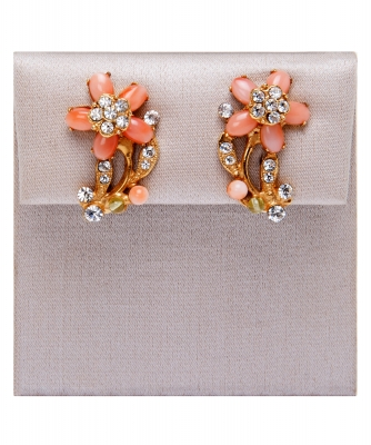 Siman Tu Coral Peridot Earrings - Siman Tu